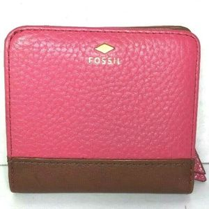 Fossil Pink with Brown Trim Leather Wallet